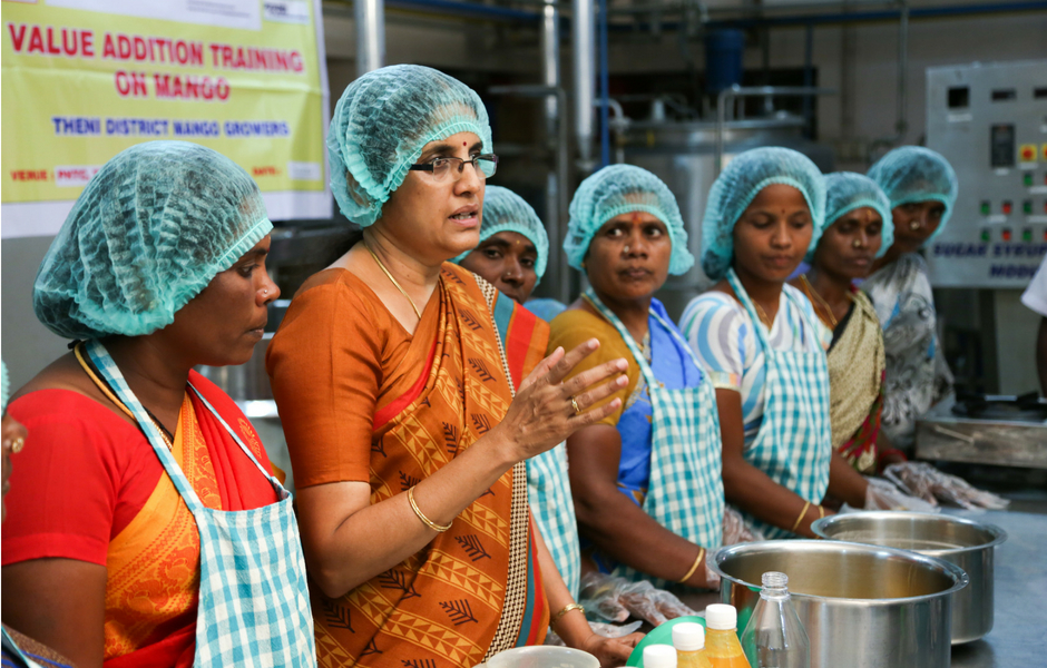 Women from one of the Mango Growing Domains in Tamil Nadu are being given skills