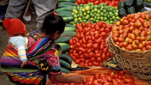 Women and child buying tomatoes