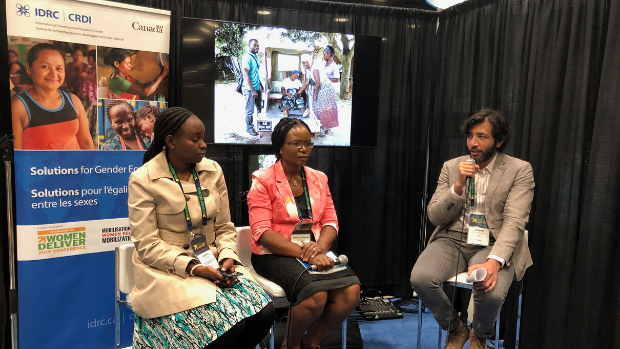 IMCHA panel during the Women Deliver conference: Lynette Kamau (left), Loretta Ntoimo (middle), Qamar Mahmood (moderator, right).