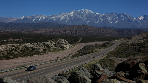 A road leading through the foothills of the Andes in Argentina.