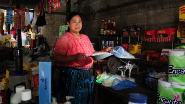 A woman working in a shop