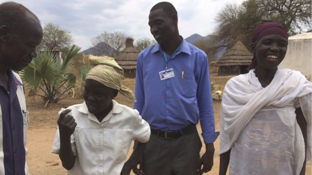 Project researchers meeting with traditional midwives in South Sudan.