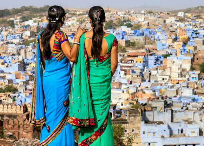 Young Indian women looking at the view