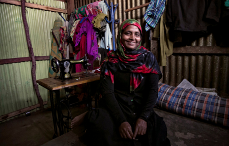 Noor Nahar left her home in Myanmar 28 years ago. Now she teaches tailoring skills to other women Rohingya refugees.
