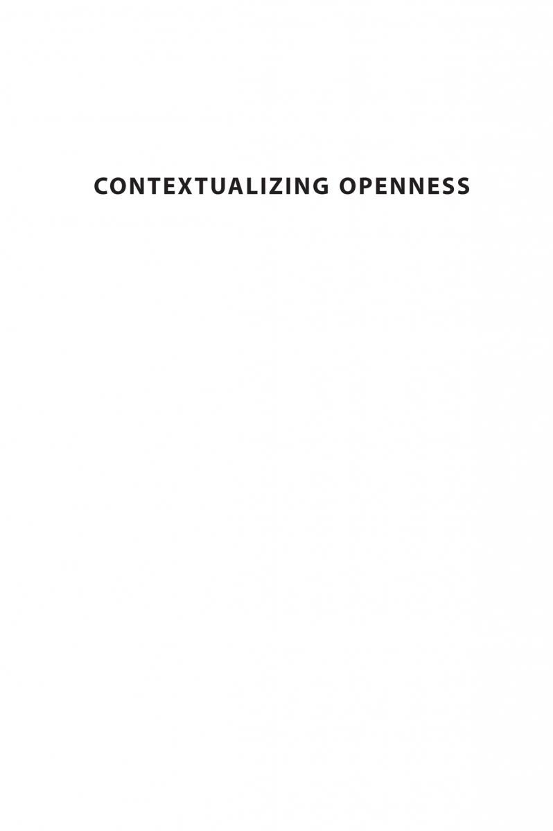 Contextualizing Openness Situating Open Science