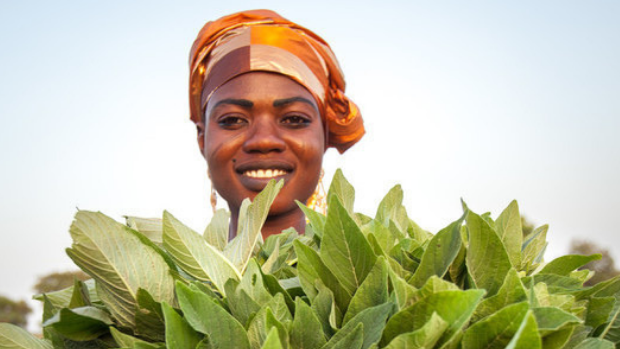 A woman shows her freshly harvested vegetables.
