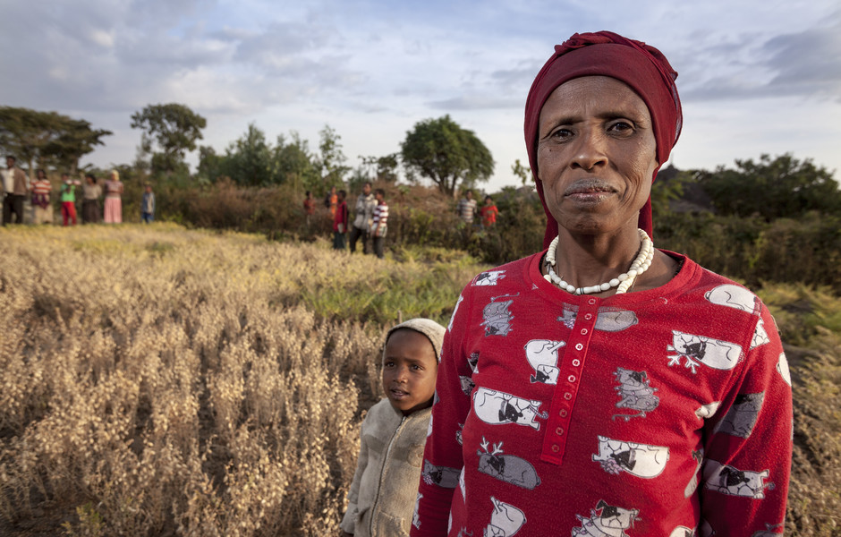 Sefiya Heliso stands in her chickpea field in Halaba, Ethiopia.