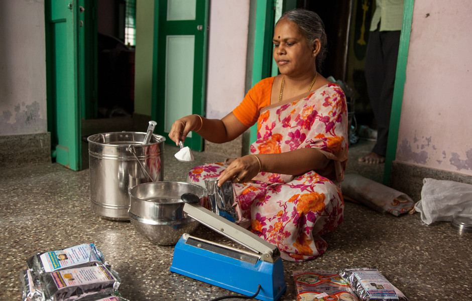 S. Padma Devi, the owner of Padmas Sree Foods, measures, weighs, and packages her ready-to-cook product.