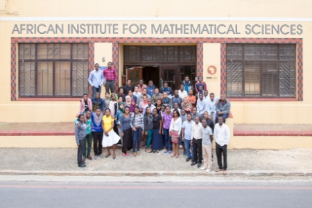Students gather in front of the African Institute for Mathematical Studies in South Africa.