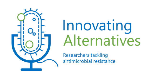 "The Innovating Alternatives logo, which resembles a bacterium on a microphone stand with the flagella as a cord and the words ""Innovating Alternatives: Researchers tackling antimicrobial resistance""."
