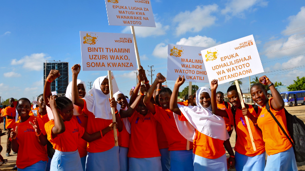 Women march to end violence in Tanzania.