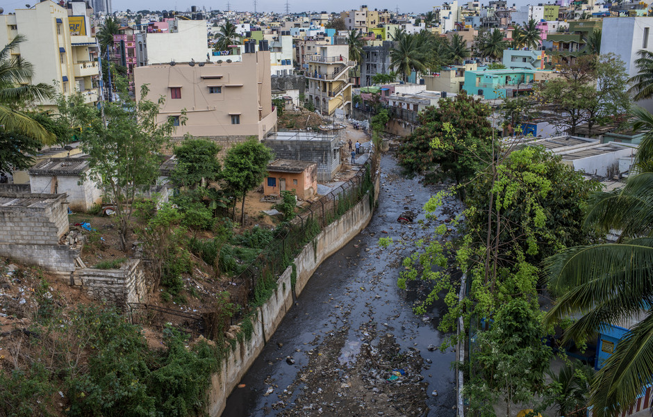 One of the polluted water stream flows within Bangalore city