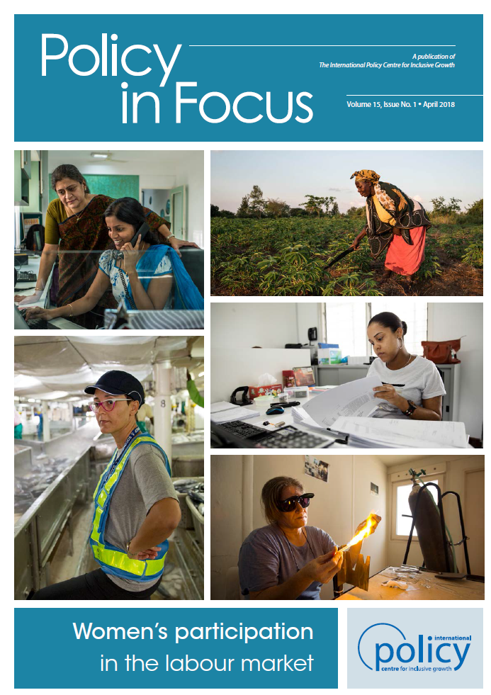 Cover of the Policy in Focus special issue showing photos of women working in different work contexts across the globe.