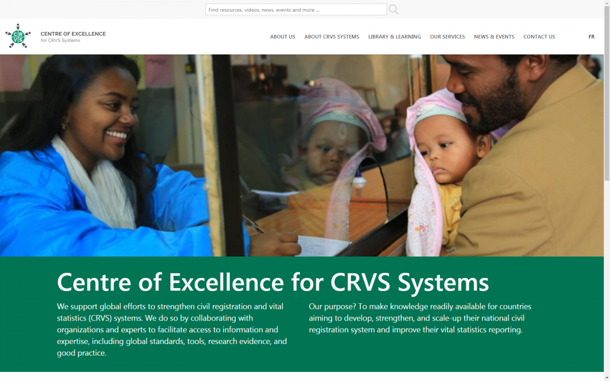 The homepage of the Centre of Excellence for CRVS Systems website. The image displays a father registering the birth of his child in Ethiopia, while a female registrar records the details on an official form.