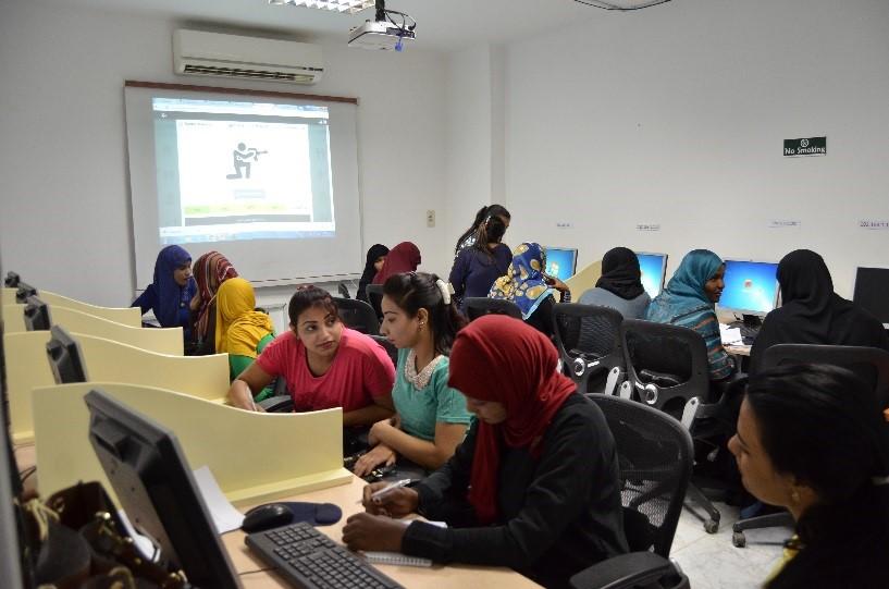 a class room of students using computers