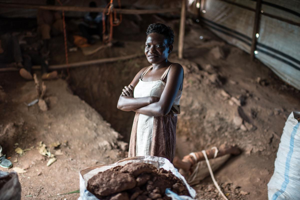 Mariam Nakawa, photographed near her mine shaft at a gold mining site in central Uganda.