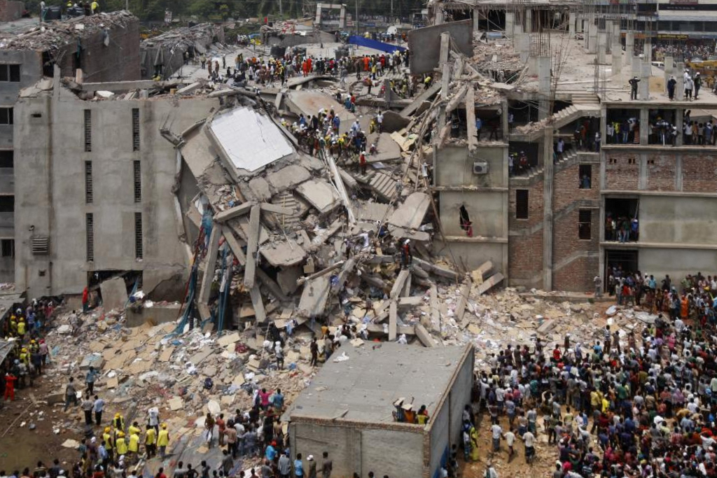 The collapse of a garment factory in Dhaka, Bangladesh