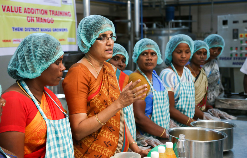Women from one of the Mango Growing Domains in Tamil Nadu are being given skills.