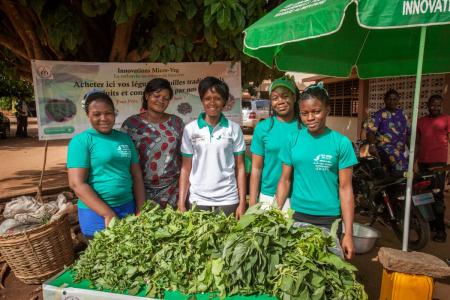 five women with their harvest
