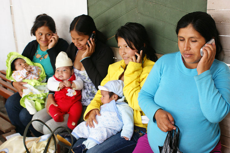 mothers with their babies in a clinic in Peru