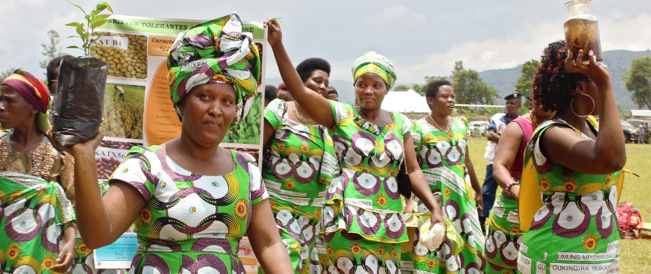 Burundi women celebrating International Women's Day focusing on the issue of environmental protection for food security