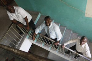 ISETAH students photographed at Ministry of Education where they work in Port-Au-Prince,Haiti,