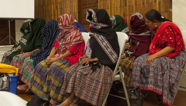 veiled women during the hearing in Guatemala