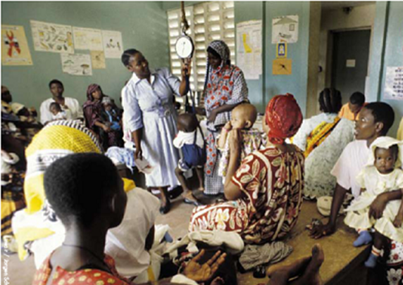 A nurse in a clinic in Tanzania
