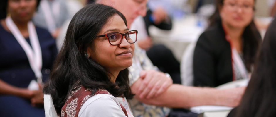 OTT-TTI young leader Varsha Pillai listens intently during a session at the 2018 Think Tank Initiative Exchange in Bangkok, Thailand.