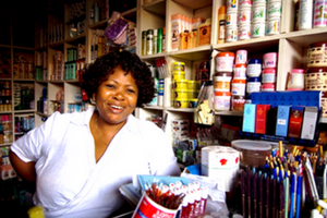 a woman in her shop