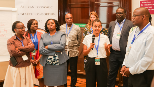 During an ice-breaking activity at the workshop, Delila Kidanu from ThinkYoung shares her perspective on investments in youth employment in Africa.