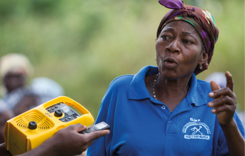Solar powered recordable radios, used in listener groups, help to ensure women can listen to and engage in programs.