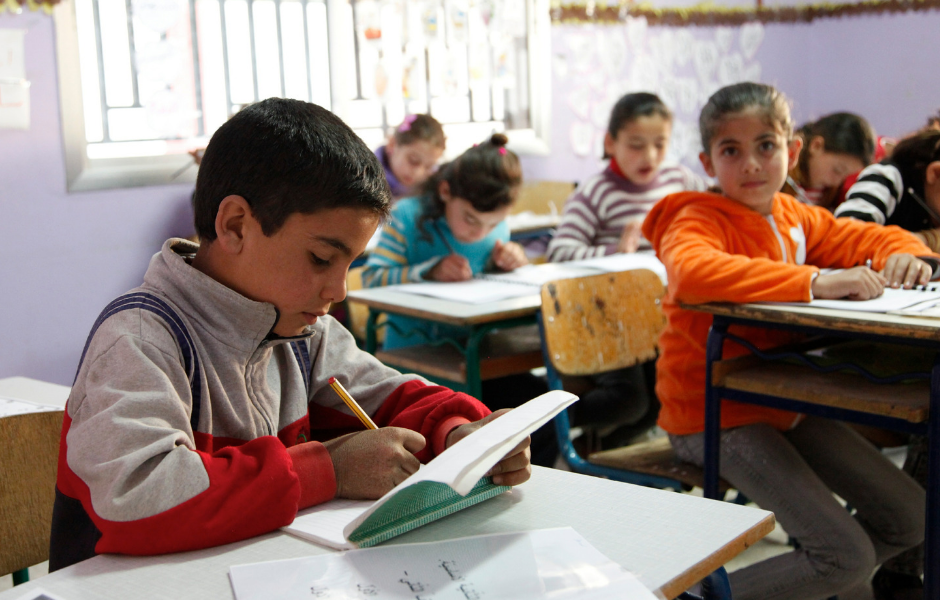 A boy from Syria attending school in Lebanon's Bekaa Valley, near the Syrian border.
