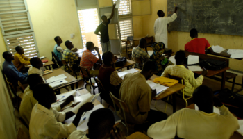 Only two women are among the students at this fluid mechanics class in Chad.