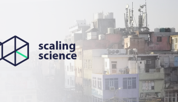 Scaling Science logo of two 3D boxes laid over old housing with new cellphone towers on top