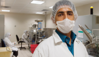 Production facility worker of Birzeit Pharmaceutical Company based in Ramallah, Palestine