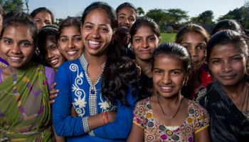 a group of young girls