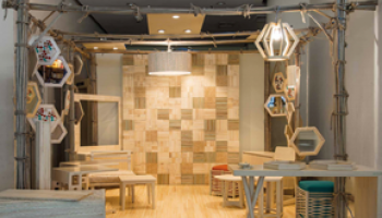Wooden tables, mirror frames, and parquet flooring produced using palm leaves.